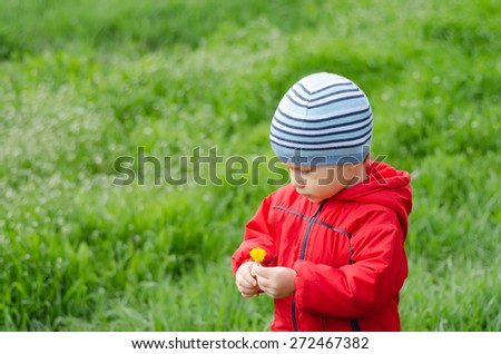 Cute little boy in red jacket and hat holding a flower on a green meadow - stock photo