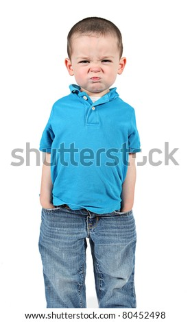 Cute little boy making funny faces on white background - stock photo