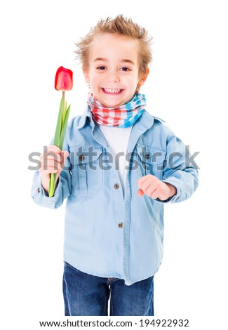 Cute little boy offering a tulip on white background - stock photo