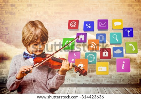 cute little boy playing violin against clouds in a room - stock photo