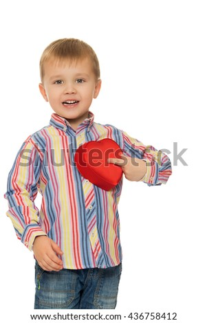 Cute little boy puts his finger to his chest box heart - Isolated on white background - stock photo