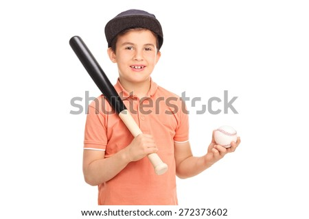 Cute little boy with a baseball cap holding a baseball bat and a ball isolated on white background - stock photo