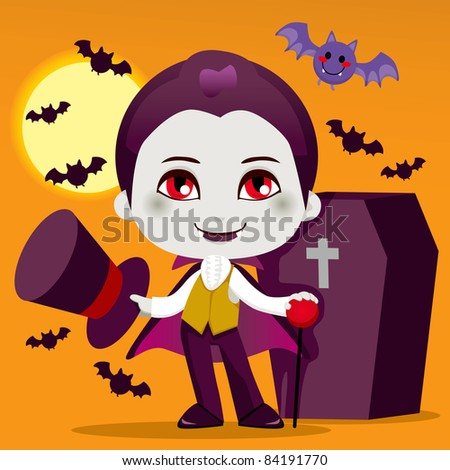 Cute little boy with Count Dracula vampire costume for Halloween night party - stock photo