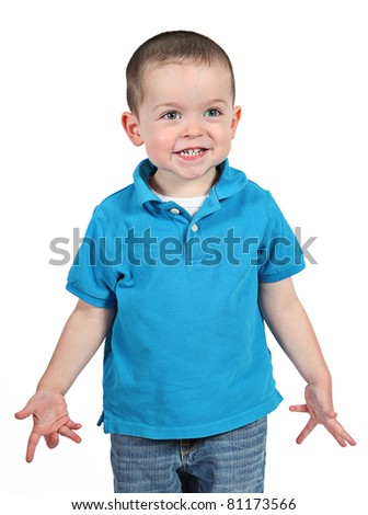 Cute little boy with great expressions isolated on white background