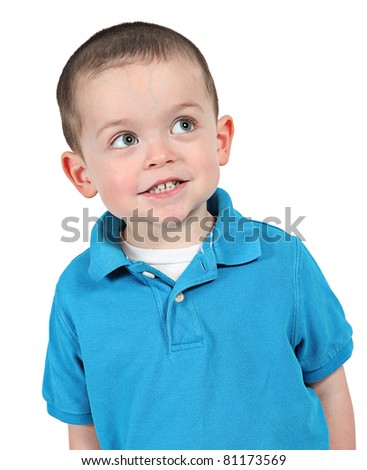 Cute little boy with great expressions isolated on white background - stock photo