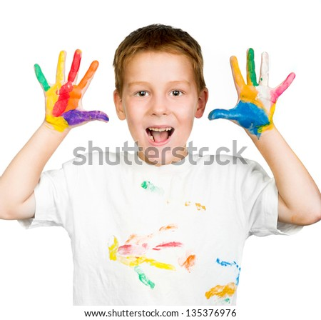 cute little boy with hands in paint isolated on white background - stock photo