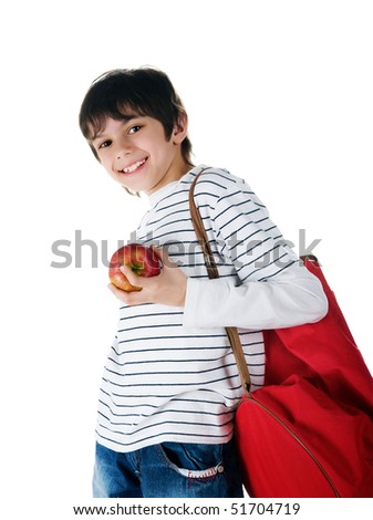 Cute little boy with the apple on white background - stock photo