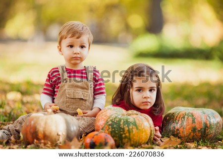 Cute little brother and sister playing in a park in autumn