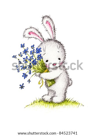 cute little bunny with a bouquet of blue flowers - stock photo
