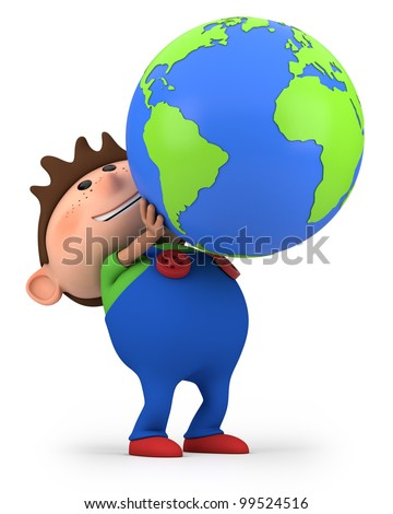 cute little cartoon boy holding a globe - high quality 3d illustration - stock photo