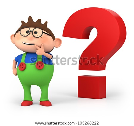 cute little cartoon boy with big questionmark - high quality 3d illustration - stock photo