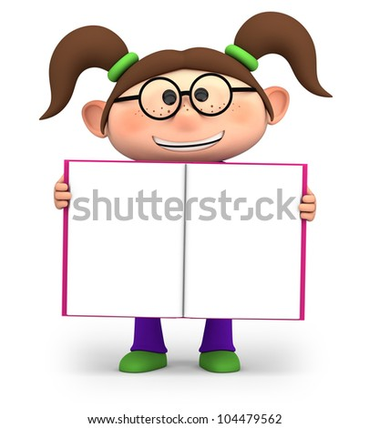 cute little cartoon girl holding an open book - high quality 3d illustration - stock photo