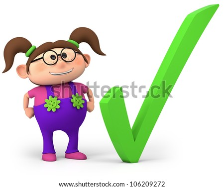 cute little cartoon girl with check mark - high quality 3d illustration - stock photo