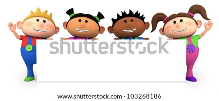 cute little cartoon kids behind blank sign - high quality 3d illustration - stock photo