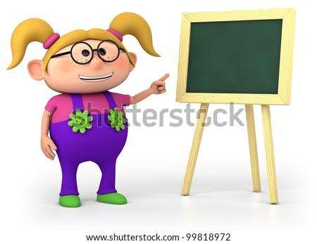 cute little cartoon school girl with blackboard - high quality 3d illustration - stock photo