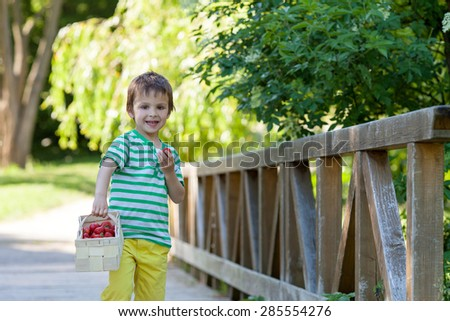 Cute little caucasian boy, eating strawberries in the park, summertime, trees around him, standing on a bridge - stock photo