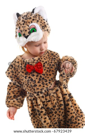 cute little child in the costume of a tiger