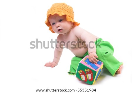cute little child in the orange hat