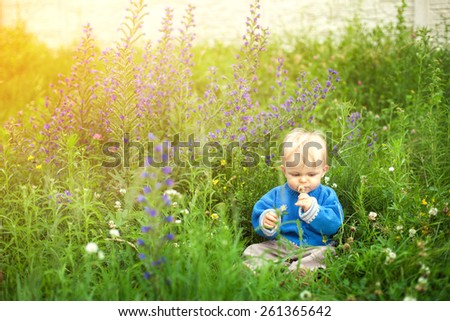 Cute little child on the meadow in spring day - stock photo