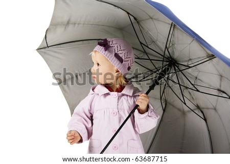 cute little child with umbrella