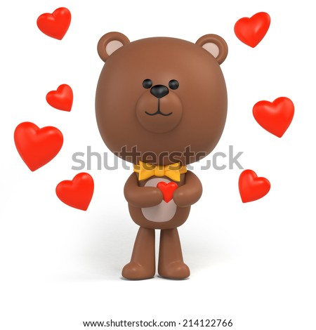 cute little chocolate teddy bear holding red heart valentine day clip art isolated on - Cartoon Valentine Pictures