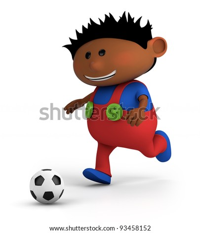 cute little dark-skinned boy playing soccer - high quality 3d illustration - stock photo