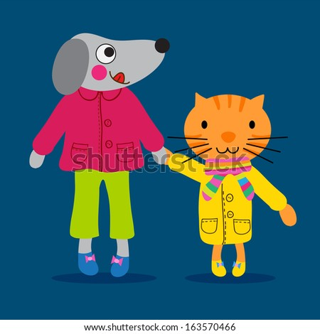 Cute little dog and a cat with nice clothing - stock photo
