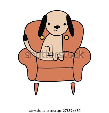 Cute little dog in a chair Illustration Raster version - stock photo