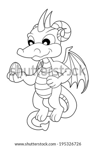 Cute little dragon flying and holding a dragon egg, coloring book line-art isolated on a white background