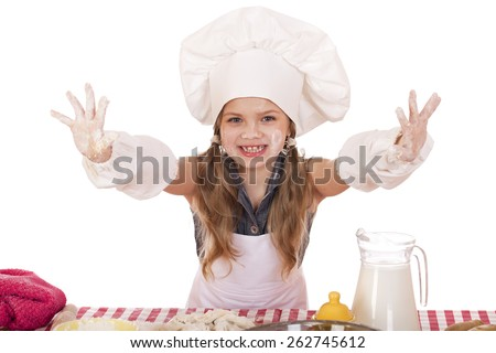 cute little girl baking on kitchen and shows hands isolated on a white background - stock photo