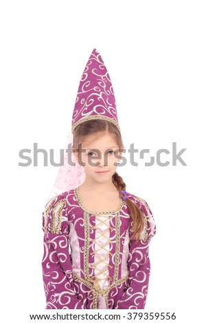 cute little girl dressed like a witch - stock photo