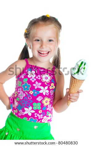 cute little girl eating ice cream on a white background