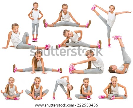 cute little girl goes in for sports. studio shot isolated on white. collage - stock photo