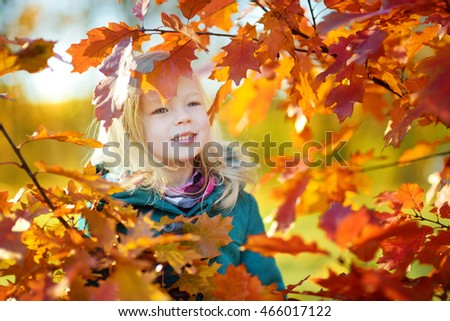 Cute little girl having fun on beautiful autumn day outdoors