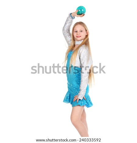 cute little girl holding the blue glass ball - stock photo