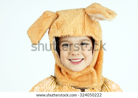 Cute little girl in dog hat costume ,Halloween concept