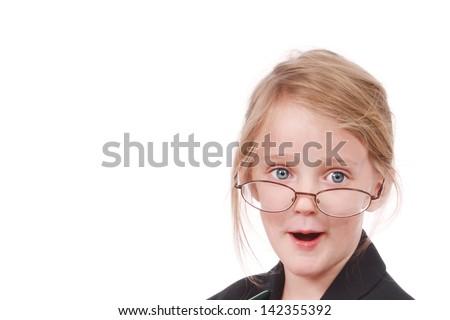 Cute little girl in glasses - stock photo