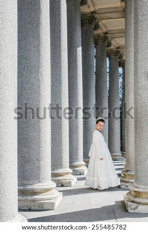 Cute Little Girl in Her First Communion Day - stock photo