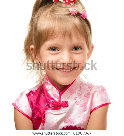 Cute little girl in pink dress, isolated over white - stock photo