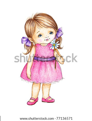 cute little girl in pink dress with daisy - stock photo