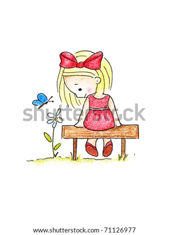 cute little girl in red dress sitting on bench on white background - stock photo