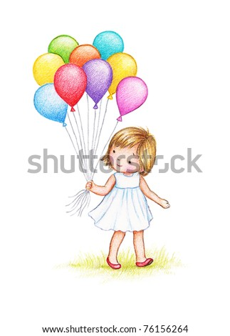 cute little girl in white dress with colorful balloons on white background - stock photo