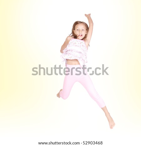Cute little girl jumping