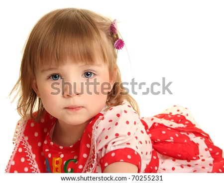 cute little girl on white