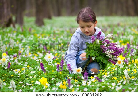 Cute little girl picking flowers in the spring forest - stock photo