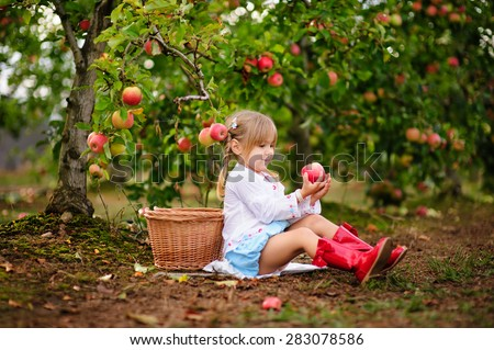 Cute little girl picking up apples in a green grass background at sunny day - stock photo