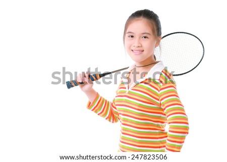 Cute little girl playing badminton - stock photo
