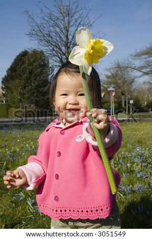 cute little girl playing with a daffodil (narcissus) flower - stock photo