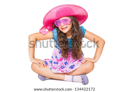 cute little girl posing isolated on white - stock photo