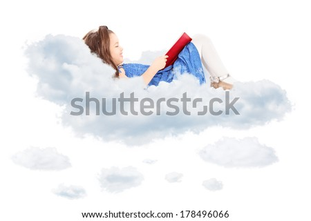 Cute little girl reading a book and laying on cloud isolated on white background - stock photo